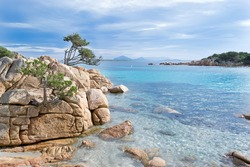 rocks in the clear turquoise water of Costa Smeralda, Sardinia