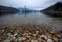 Rocks in the clear water in Pend Oreille Lake at Garfield Bay just south of Sandpoint, Idaho.