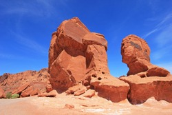 Rocks named Seven Sisters, Valley of Fire State Park, Nevada, USA