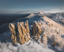 Rocks of Taganay nature park in Ural mountains, Russia. These mountains are the most ancient mountains in the world