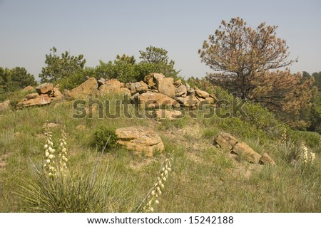 Rocks on Hill in Wyoming, rocks are said to be smoke rings created by native americans. - stock photo