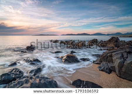 Rocks on the beach at Bagh Steinigidh on the Isle of Harris in Scotland