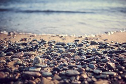 Rocks on the seaside near the beach in Italy, Liguria in winter
