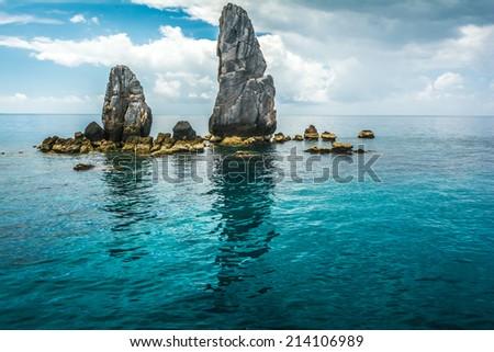 Rocks , sea and blue sky,Koh Tao, Thailand