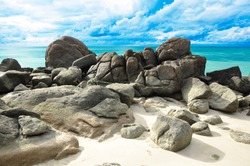 Rocks , sea and blue sky - Lipe island Thailand
