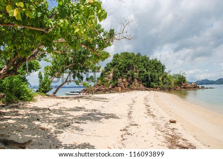 Rocks, sea and Vegetation of a beautiful island in Krabi Province - Thailand.