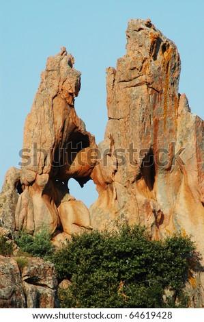 Rocks showing heart shaped hole, Les Calanches de Piana, UNESCO heritage, Corsica, France