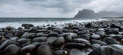 Rocks/stones on the Uttakleiv beach during a rainy day on the Lofoten islands, Norway
