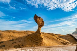 Rocks that are eroded by nature present the shape of the Queen's head.Yehliu Geological Park,Taiwan