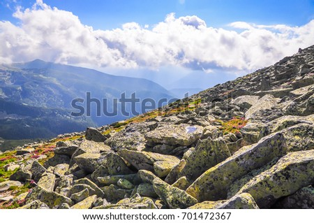 rocks, trees, forest, lakes and fog details #701472367