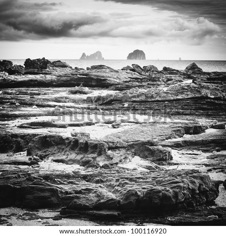 rocks under stormy sky, Andaman Shore, Thailand