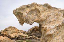 Rocks with original geological forms of Pla de Tudela, in Cap de Creus (Costa Brava, Catalonia, Spain) ESP: Rocas con originales formas geológicas del Plan de Tudela, en el Cap de Creus