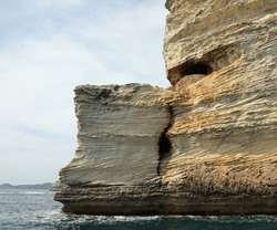rocks with shape of helm in Corsica Island in the Mediterranean Sea of Europe