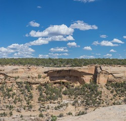 Rocks with the remains of ancient American Indian settlements in Mesa Verde National Park.