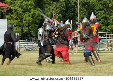 ROCKTON FAIRGROUNDS - JUNE 23:  The group knights at Tresureventure in June 23 2012 in Rockton, Canada.
