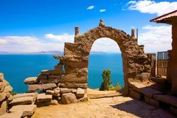 Rocky Arch on Taquile Island , Puno, Peru