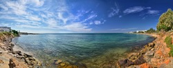 Rocky beach, Hammamet in Tunisia near Mediterranean Sea, Africa, HDR Panorama
