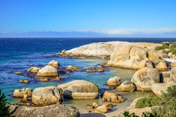 Rocky boulder's beach is a turquoise and sheltered beach and a famous tourist destination in cape town South Africa