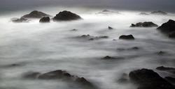 Rocky Californian coast at night - long exposure -