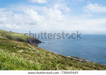 Rocky cliffs along Wild Atlantic Way dramatic and scenic tourist route on Irish west coast #738469669