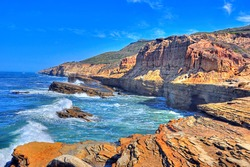 Rocky cliffs and tidepools at Cabrillo National Monument in San Diego California