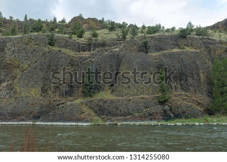 Rocky cliffs on the on the Crooked River in Oregon, USA