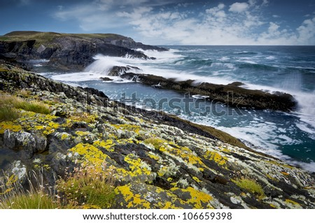 Rocky coast of Atlantic Ocean during stormy weather, South West of Ireland