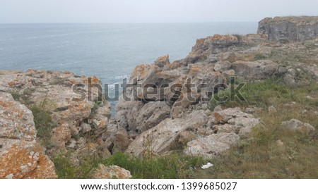 Rocky coast of Bulgaria with the Black Sea in the background