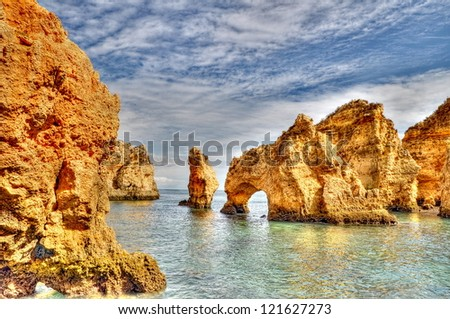 Rocky coast of Portugal in HDR