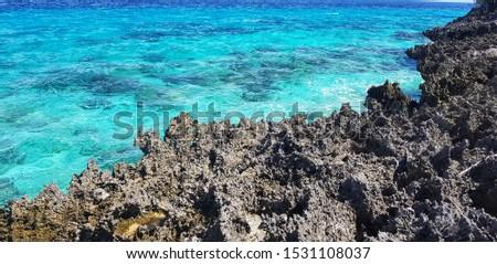 rocky coastline and the sea