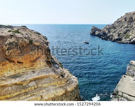 Rocky coastline. Malta.