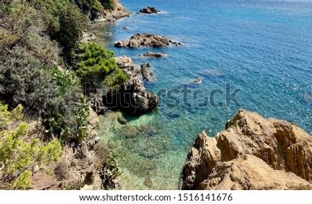 Rocky coastline the french Riviera, hyeres France