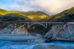 Rocky Creek Bridge, spandrel arch bridge in California, Big Sur in Monterey County, USA
