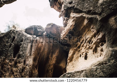 Rocky desert area in Gobustan national park ancient rocks, nature of Azerbaijan