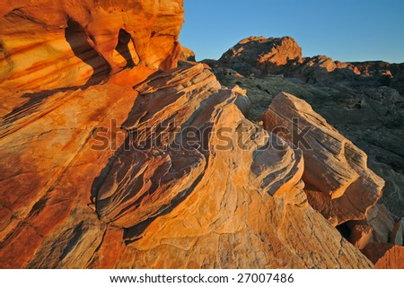 Rocky desert landscape at sunrise, Valley of Fire State Park, Nevada, USA