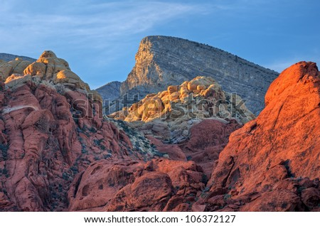 Rocky desert landscape at sunset, Red Rock Canyon National Recreation Area, Las Vegas, Nevada, USA