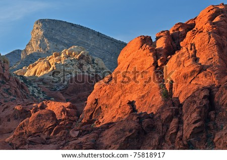 Rocky desert landscape at sunset, Red Rock Canyon National Recreation Area, Las, Vegas, Nevada, USA