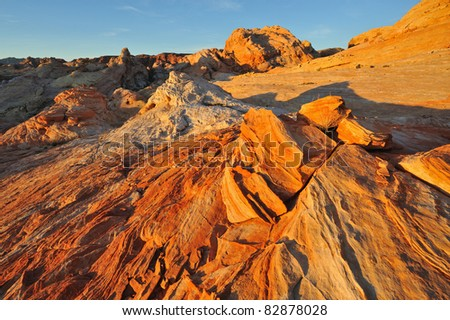 Rocky desert landscape shortly after sunrise, Valley of Fire State Park, Nevada, USA