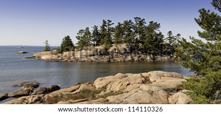 Rocky island on Georgian Bay in Ontario