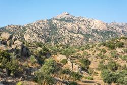 Rocky landscape and Besbarmak mountain near Lake Bafa in Turkey.