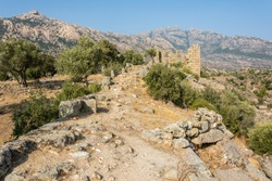 Rocky landscape around Lake Bafa in Turkey with ruins of Herakleia.