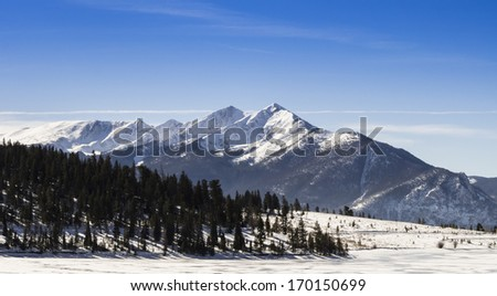 Rocky mountain peaks in winter