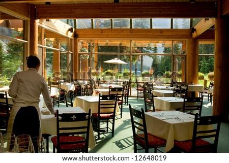 Rocky Mountain restaurant in resort by glacier lake