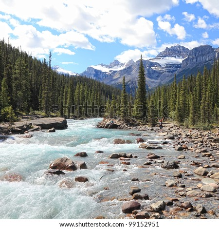 Rocky mountains and river with a rapids flowing in a valley between mountain wood in Jasper National Park (Alberta, Canada)
