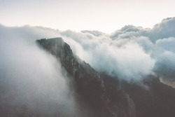 Rocky Mountains cliff and clouds storm Landscape Travel aerial view serene scenery wild nature