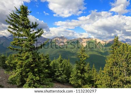 Rocky mountains green forest landscape.Banff National Park (Alberta, Canada)