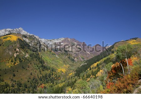 Rocky Mountains in the fall with blue sky