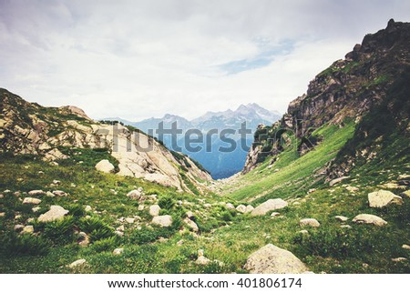 Rocky Mountains Landscape green valley Summer Travel serene scenic view #401806174