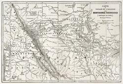 Rocky mountains old map, USA. Created bu Vuillemin, Erhard and Bonaparte, published on Le Tour du Monde, Paris, 1860