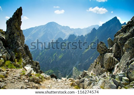 Rocky mountains view seen from Lomnicke sedlo in High Tatras, Slovakia